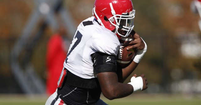 UGA outside linebacker Davin Bellamy (17) runs a drill at Wednesday's practice. Bellamy had six tackles in the teams win over Missouri. (Joshua L. Jones/Special)
