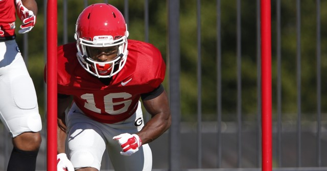 UGA wide receiver Isaiah McKenzie (16) prepares to run a drill at Wednesday's practice. Mckenzie was upgraded to questionable for the teams match up with Florida on Oct. 31. (Joshua L. Jones/Special)