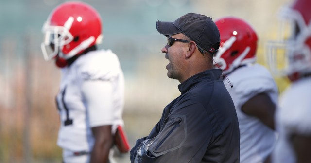 UGA defensive coordinator Jeremy Pruitt looks on at Wednesday's practice. Pruitt's defiance lead the team to victory in last Saturday's win over Missouri. (Joshua L. Jones/Special)