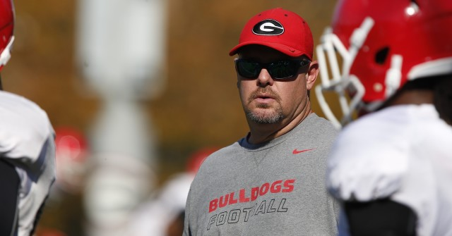 UGA defensive linebacker coach Kevin Sherrer looks on at Wednesday's practice.