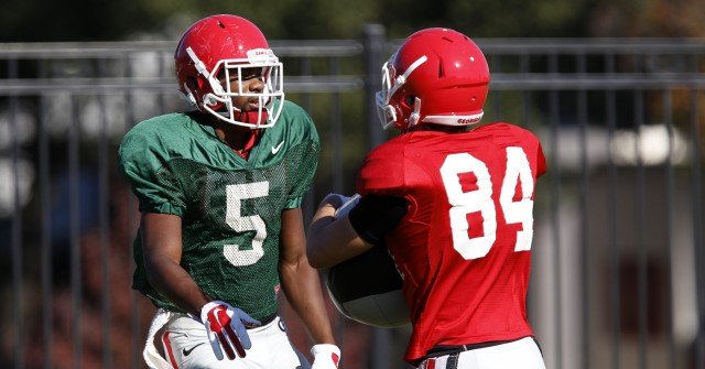 UGA wide receiver Terry Godwin (5) finishes running a drill at Wednesday's practice. Godwin is becoming the teams go to at wide receiver behind senior Malcolm Mitchell. (Joshua L. Jones/Special)
