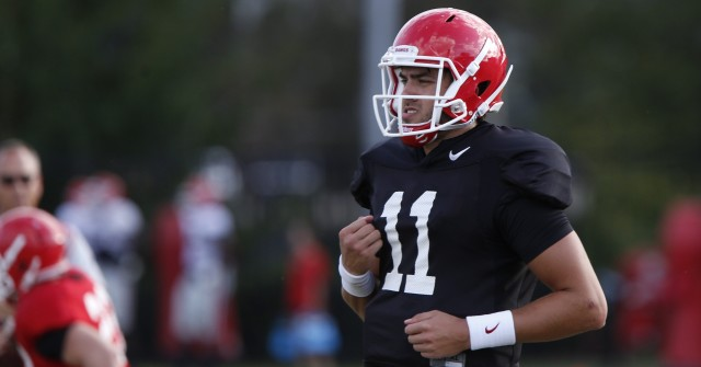 UGA quarterback Greyson Lambert (11) looks down the field for an open wide receiver at Thursday's practice. After putting up great marks at the start of the season Lambert has proven he still has a way to go when facing SEC defenses. (Joshua L. Jones/Special)