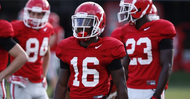 UGA wide receiver Isaiah McKenzie (16) looks on at Thursday's practice. (Joshua L. Jones/Special)