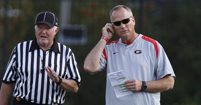 UGA coach Mark Richt looks on at Thursday's practice. (Joshua L. Jones/Special)