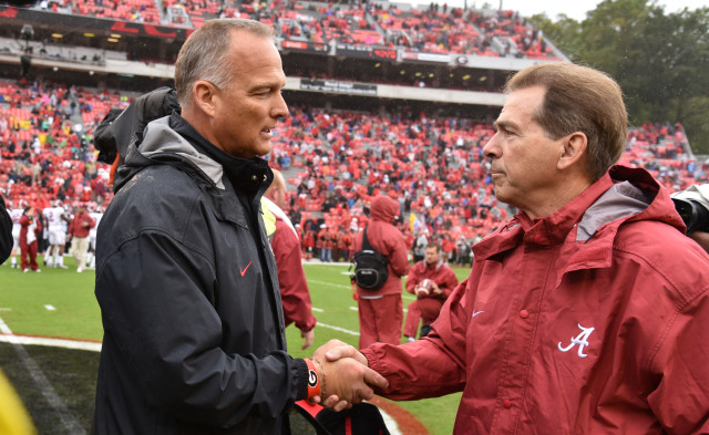 Mark-Richt-Nick-Saban-by-Brant-Sanderlin-AJC-UGA-vs.-Alabama-DRC_7044