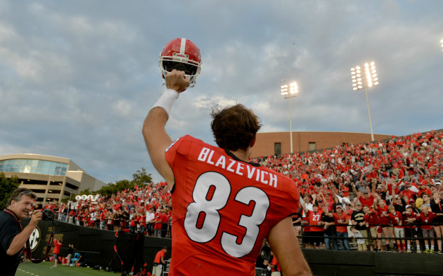UGA tight end Jeb Blazevich celebrates the win over Vanderbilt.  The sophomore tight end caught one pass for 19 yards. (Brant Sanderlin/ AJC)