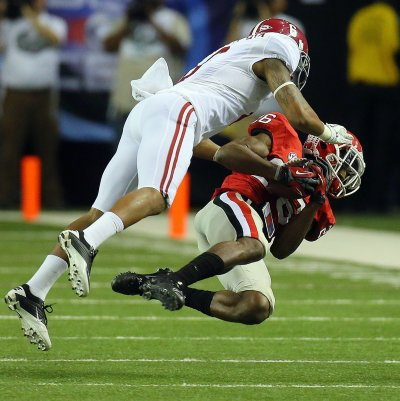 Malcolm Mitchell had four catches for 40 yards in the 2012 SEC championship, the last time Georgia and Alabama met. (AJC/Brant Sanderlin)