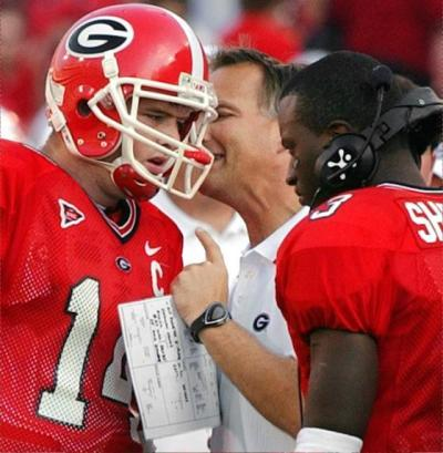 Mark Richt always started David Greene (L) from 2003-04, but usually found a way to play D.J. Shockley, too. (UGA photo)