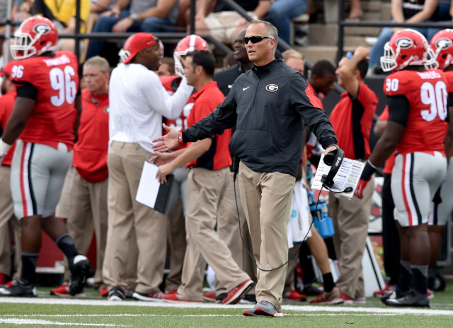 UGA head coach Mark Richt reacts to a call during the first half against Vanderbilt. (Brant Sanderlin/ AJC)