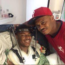 Gales poses with a family member in the hospital on Monday FAMILY PHOTO