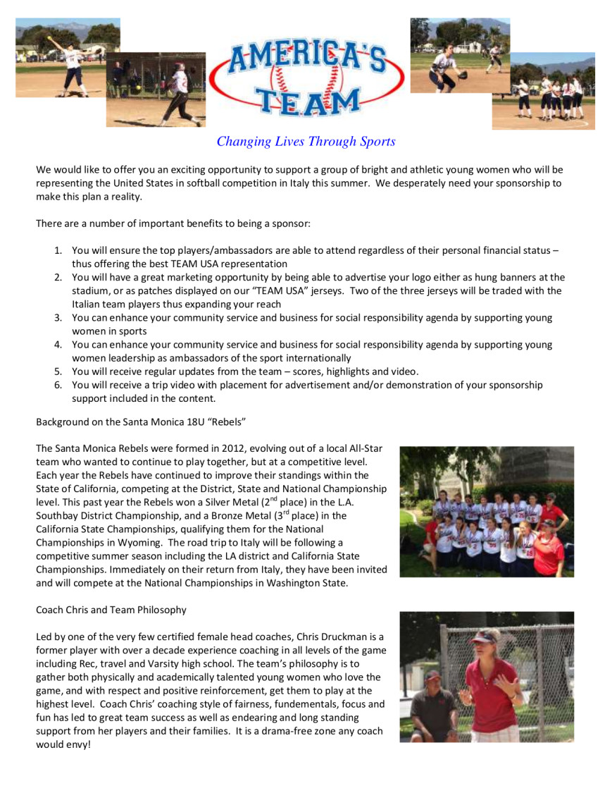 USA Softball Team to compete in Italy. fundraiser